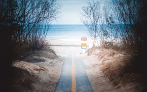 sea, nature, Omaha Beach, Latvia, road, vignette