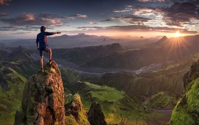 hiking, clouds, Max Rive, grass, valley, sunrise