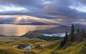 Skye, island, mountain, sunrise, panoramas, bay