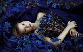 looking at viewer, girl outdoors, bare shoulders, blue flowers, bouquets, lying on back