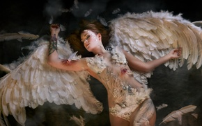 angel, wings, girl, blood, model