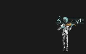 aliens, violin, musical notes