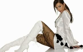 high heels, brunette, girl, Kortney Kane, stockings, fishnet stockings