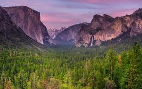 waterfall, USA, sunset, trees, Yosemite National Park, landscape