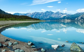 lake, Canada, reflection, water, snow, mountain