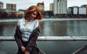 girl outdoors, sweater, building, Antonina Bragina, urban, cityscape
