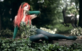 stockings, cosplay, Poison Ivy, girl outdoors, nature, trees