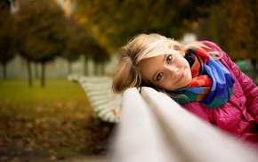 blonde, depth of field, looking at viewer, fall, scarf, face
