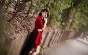 tilt shift, girl, brunette, Asian, dress, red dress