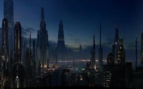 sky, cityscape, lights, landscape, city, night