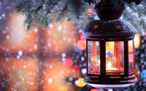 snow, candles, nature, winter, trees