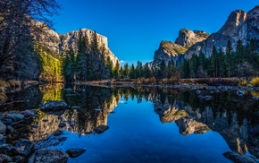 cliff, mountain, water, landscape, nature, river