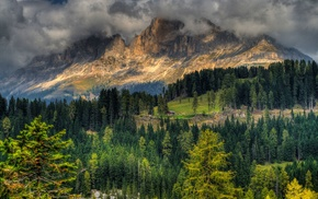 mountain, lights, nature, HDR, trees, clouds