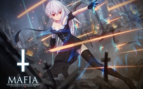 Pixiv Fantasia, weapon, gloves, knee, highs, white hair