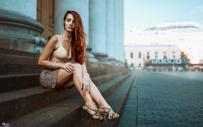 stairs, Georgiy Chernyadyev, high heels, girl outdoors, miniskirt, girl