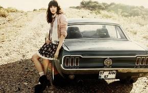 brunette, Turkey, Ford Mustang, girl outdoors, girl with cars, skirt