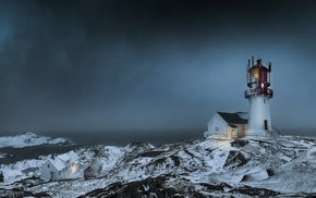 sea, Norway, house, storm, winter, lights