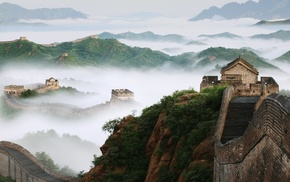 nature, mist, China, bricks, Great Wall of China, trees