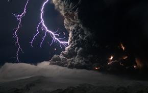 clouds, volcano, smoke, night, eruptions, lightning