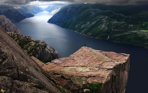 Preikestolen, nature, blue, landscape, mountain, fjord