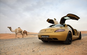 Mercedes, Benz SLS AMG, animals, car, camels, desert