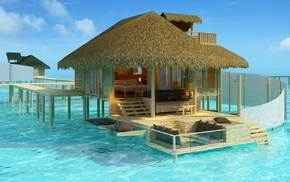 water, sea, nature, Madives Paradise, tropical, bungalow