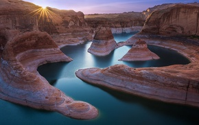 water, sun rays, Utah, sunrise, rock formation, river