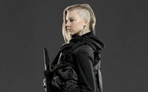 Natalie Dormer, gray background, blonde, Hunger Games, actress, shaved heads