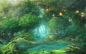 fantasy art, birds, forest, trees