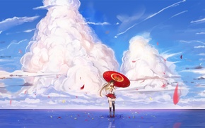Yamato KanColle, clouds, umbrella, Kantai Collection, water