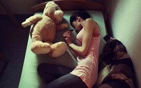 teddy bears, in bed, girl