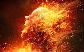 people, digital art, burning, artwork, Constantine, fire