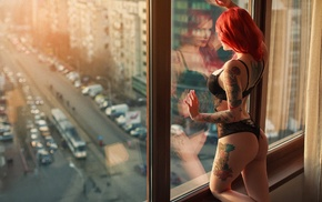 fishnet lingerie, tattoo, model, street, black lingerie, reflection