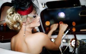 old car, blonde, girl