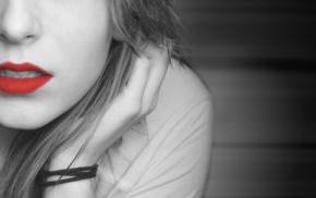 lips, girl, selective coloring