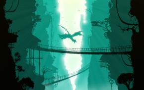 bridge, digital art, nature, trees, dragon, birds