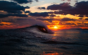 waves, sky, nature, sunset, water, sea