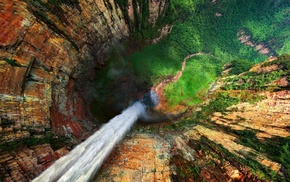 trees, waterfall, nature, mountain, Sun, water