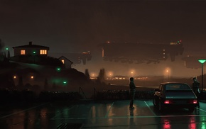 saab, Simon Stalenhag, Saab 900, night, artwork, cyberpunk