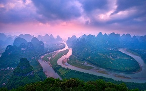 river, nature, mountain, China, landscape, clouds