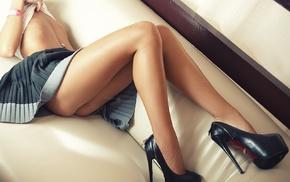 high heels, model, pierced navel, girl, piercing, Fedor Shmidt