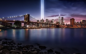 Brooklyn Bridge, Never Forget, cityscape, New York City, landscape, artificial lights
