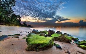 sea, Singapore, sunrise, nature, clouds, HDR