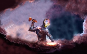 galaxy, hammer, universe, space, nebula, artwork