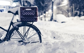 closeup, bicycle, winter, snow
