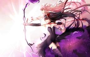 thigh, highs, Kaname Madoka, anime girls, feathers, Mahou Shoujo Madoka Magica