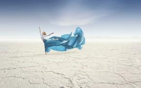 sand, girl, desert, dancing