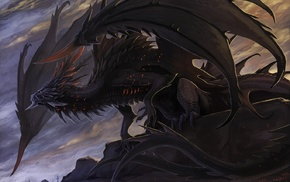 dragon, wings, claws, rock