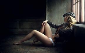 jacket, curly hair, white panties, leather jackets, Georgiy Chernyadyev, legs