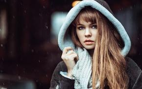 Georgiy Chernyadyev, long hair, girl, face, rain, Anastasia Scheglova
